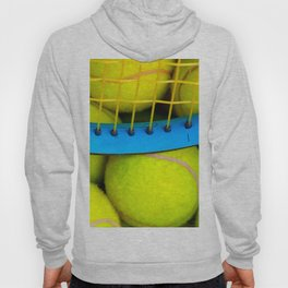 Yellow Tennis Balls And A Blue Racket Hoody