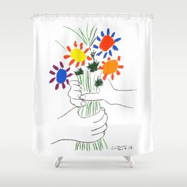 Pablo Picasso Bouquet Of Peace 1958 (Flowers Bouquet With Hands), T Shirt, Artwork Shower Curtain