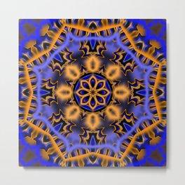 Blue and Orange Kaleidoscope Metal Print
