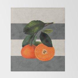 botanical stripes 6 -gray Throw Blanket