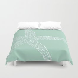 Starfish- white on sage Duvet Cover