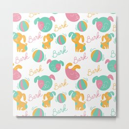 Cute modern pink green orange dog pattern typography Metal Print