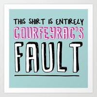 fault Art Prints featuring courfeyrac's fault by Gender Monster