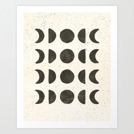 Moon Phases - Black on Cream Art Print