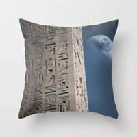 egyptian Throw Pillows featuring Egyptian Moon by Vin Zzep