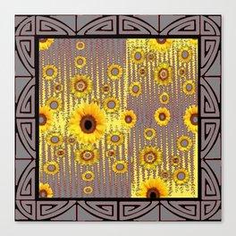 ART DECO GOLDEN SUNFLOWERS  GREY-BLACK ABSTRACT Canvas Print
