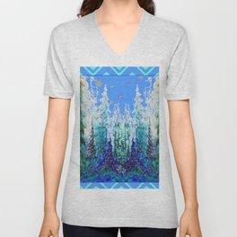 Western  Blue Modern Art Mountain Blue Winter Trees  Art Unisex V-Neck
