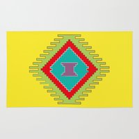 kilim Area & Throw Rugs featuring Persian Kilim - Yellow Background by Katayoon Photography & Design