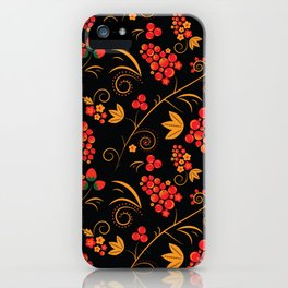 Traditional russian khokhloma print with berries and floral motives iPhone Case