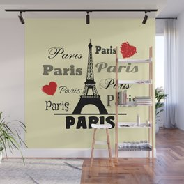 Paris text design illustration 2 Wall Mural