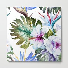 Watercolor Tropical Hibiscus Metal Print