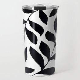 BLACK AND WHITE LEAVES PATTERN Travel Mug
