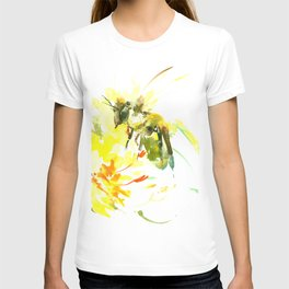 Honey Bee and Yellow Abstrac floral decor T-shirt