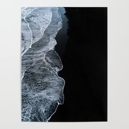 Waves on a black sand beach in iceland - minimalist Landscape Photography Poster