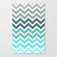 grey Canvas Prints featuring Tiffany Fade Chevron Pattern by Directapparelco