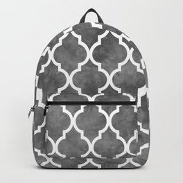 Classic Quatrefoil Lattice Pattern 915 Gray Backpack