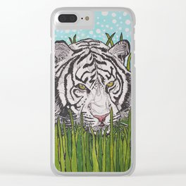 White tiger in wild grass Clear iPhone Case