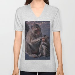 Mother and Baby Macaque Monkey Unisex V-Neck