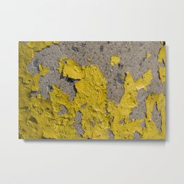 Yellow Peeling Paint on Concrete 2 Metal Print