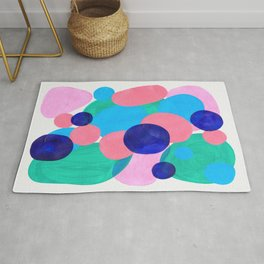 Mid Century Modern Minimalist Abstract Painting Pastel Pink Blue Teal Bubbles Cool Shapes Fun Patter Rug