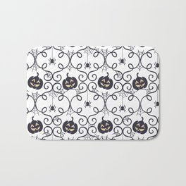 happy hallowen curves and pumkins pattern Bath Mat