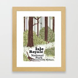 Isle Royale National Park vintage travel poster Framed Art Print