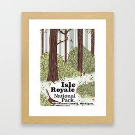 Isle Royale National Park vintage travel poster Framed Art Print