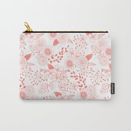 Doodle flowers in living coral  Carry-All Pouch