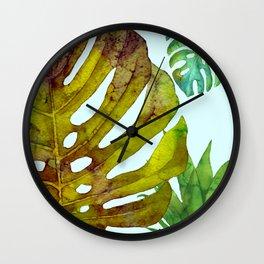 Prepared Monstera Wall Clock