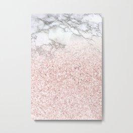She Sparkles - Pastel Pink Glitter Rose Gold Marble Metal Print