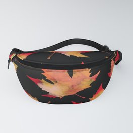 Maple leaves black Fanny Pack