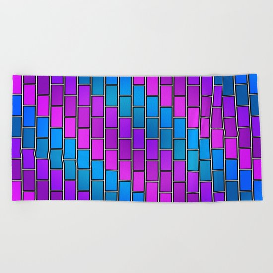 BRICK WALL #2 (Purples, Violets & Turquoises) Beach Towel
