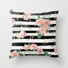 VINTAGE FLORAL ROSES BLACK AND WHITE STRIPES Throw Pillow