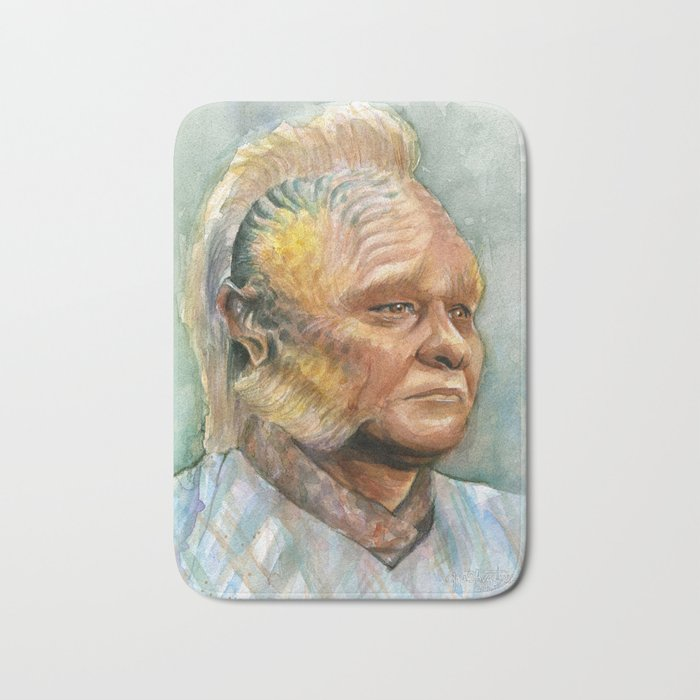 Neelix Watercolor Portrait Voyager Talaxian Geek Sci-fi Art Bath Mat