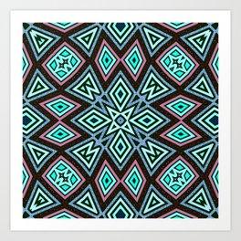 Aztec Geometric Mandala | Aqua Pink Art Print