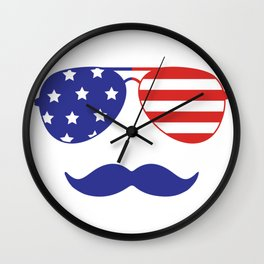 4th of July American Mustache and Sunglasses Fourth of July Wall Clock