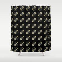 Fleur de lis ...gold, black, white Shower Curtain