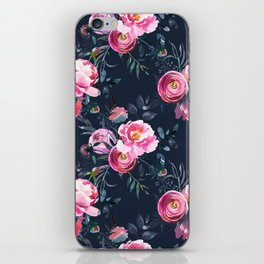 Navy and Bright Pink Floral Print iPhone Skin