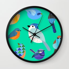 Blue Birds Wall Clock