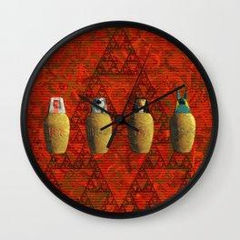 Canopic Jars, Ancient Egypt Wall Clock