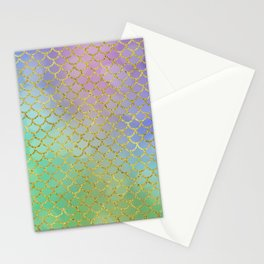 Sea-Green Mermaid Scales Pattern Stationery Cards