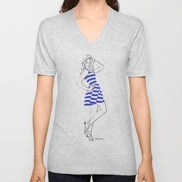 Blue dress Unisex V-Neck