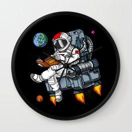 Space Astronaut Nerd Book Reading Geek Wall Clock