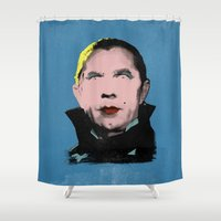 dracula Shower Curtains featuring The Dazzling Dracula by sbsiceland