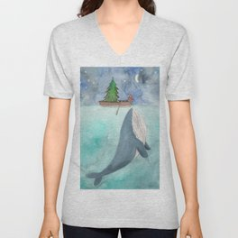 When a whale likes Christmas Unisex V-Neck