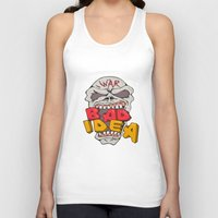 bad idea Tank Tops featuring Skull War Bad Idea Cartoon by patrimonio