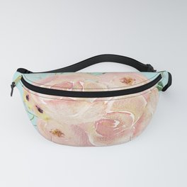 Wild Roses on Succulent Blue Green Fanny Pack