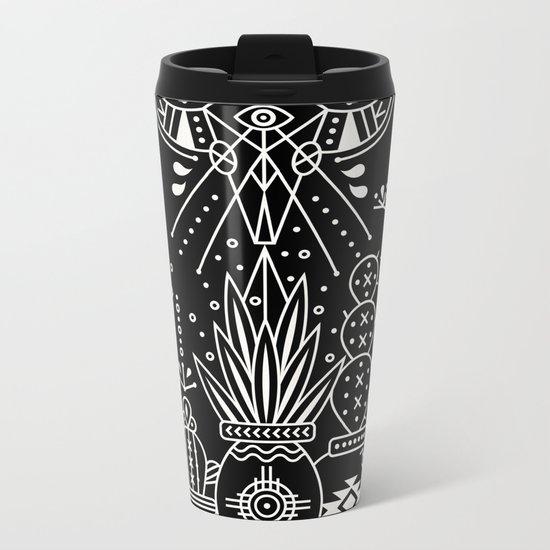 Santa Fe Garden – White Ink on Black Metal Travel Mug