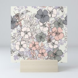 Flower vintage design with wild roses in english style Mini Art Print