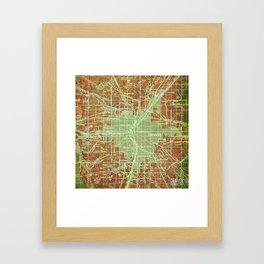 Denver Colorado map, year 1958, orange and green artwork Framed Art Print